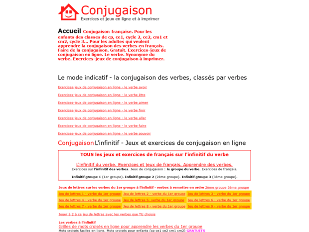 Bienvenue Au Conjugaison Pour Enfants Fr Page Conjugaison Pour Enfants Jeux Exercices Verbe Avoir Etre Faire Aller Verbes Vo
