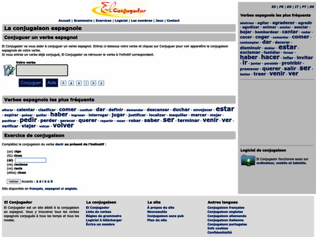 Bienvenue Au Elconjugador Com Page La Conjugaison Espagnole Sur El Conjugador