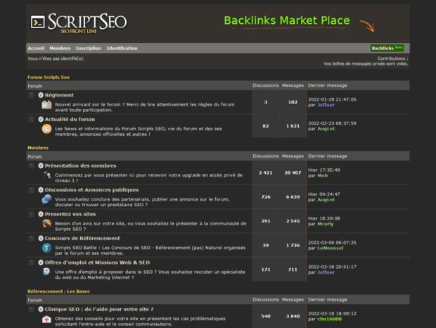Bienvenue au scripts-seo.com page - ▷ Forum SEO : Positionnement &  Référencement Moteurs de Recherche.