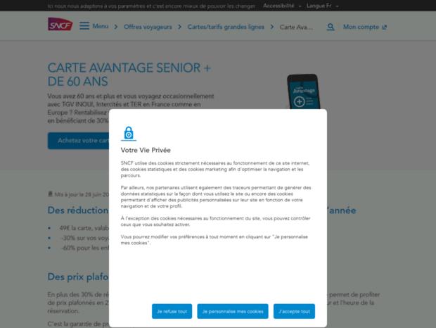 Bienvenue Au Senior Sncf Com Page Carte De Reduction Senior Sncf