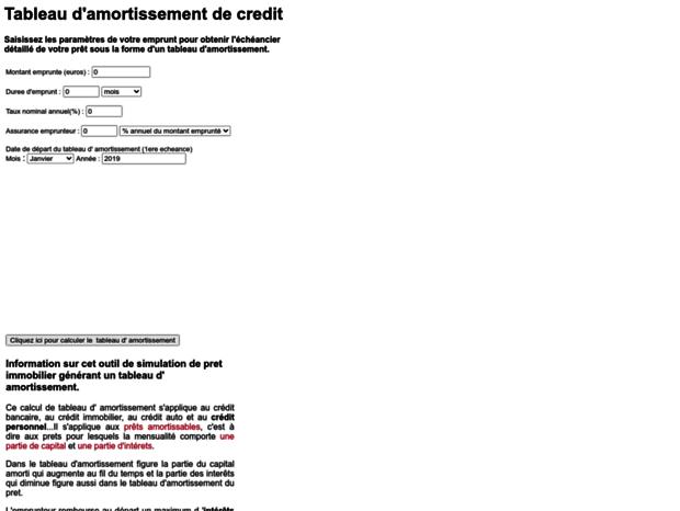 Bienvenue Au Tableau Amortissement Org Page Tableau Amortissement Calculez Le Tableau D Amortissement De Votre Credit