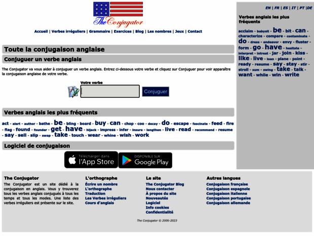 Bienvenue Au Theconjugator Com Page The Conjugator La Conjugaison Des Verbes Anglais