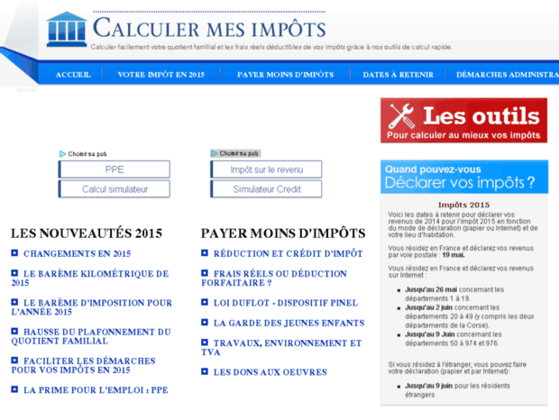 Bienvenue Au Calculer Mes Impots Fr Page This Domain Name
