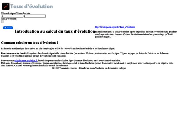 Bienvenue Au Calculer Taux Evolutionfr Page Calculer Taux