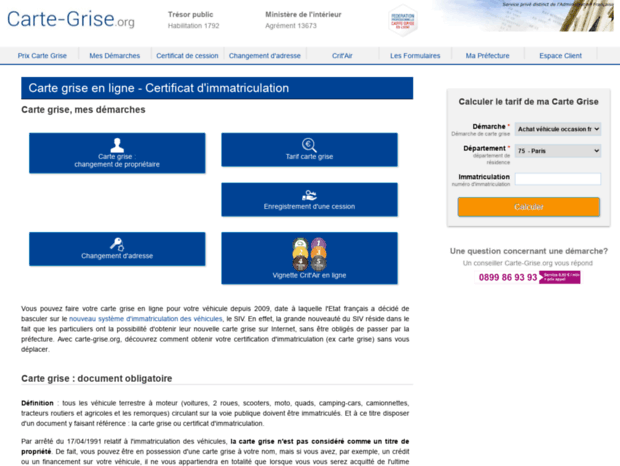 carte grise org certificat immatriculation Bienvenue au carte grise.page   Carte Grise en Ligne : Votre