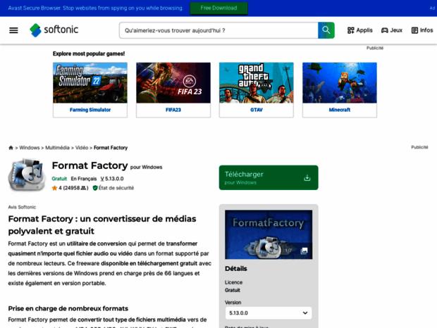 Bienvenue au format-factory softonic fr page - Format