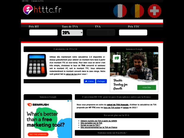Bienvenue Au Htttcfr Page Ht Ttc Calcul Tva En Ligne