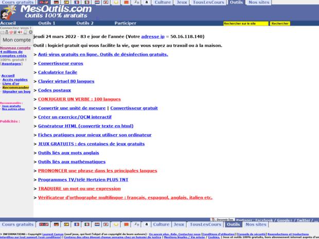 Bienvenue Au Mesoutils Com Page Outils Conjugaison Definition Synonymes