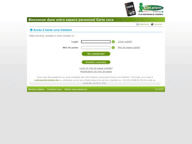 Carte Cora Cetelem Belgique.Bienvenue Au Mycoracard Be Page Carte Cora Cetelem