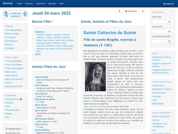 Calendrier Des Saints Et Des Prenoms.Bienvenue Au Nominis Cef Fr Page Nominis Saints Fetes