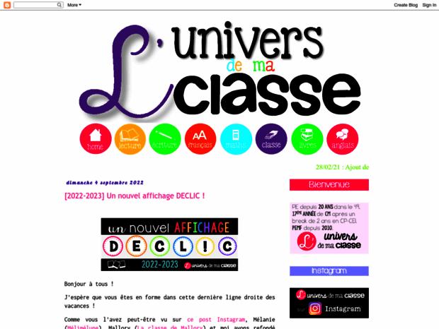 Bienvenue Au Universdemaclasse Blogspot Be Page L Univers